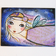"ACEO ""night flight"". Original painting."