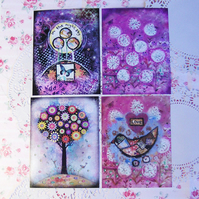 """Purple night sky"", mini prints set of four"