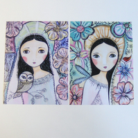 """Angel delight"" set of two mini prints"