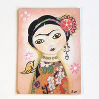 ACEO Frida Kahlo in peach original painting