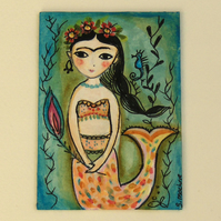 Frida Kahlo mermaid  ACEO original painting