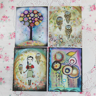 "SALE "" Woodland trail"" prints, set of four, featuring my original artwork"