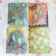 """Secret garden"" prints, set of four, featuring my original artwork"