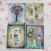 """ Woodland trail"" prints, set of four, featuring my original artwork"