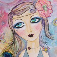 A4 print, buy one get one free, Lulu the flapper girl, from my original painting