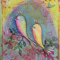 SALE  Love birds,  print 8 x 10