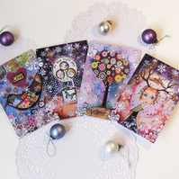 Christmas cards, Set of four.