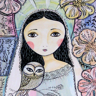 "SALE ""Angel with owl"" Art print 8"" x 10"""