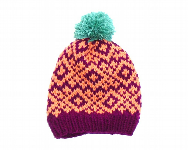 Knitted Hat - Bobble Hat - Nordic - Colourful H... - Folksy