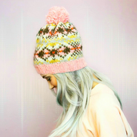 Knitted Hat - Fair Isle Hat - Lopi Wool - Bobble Hat – Unisex