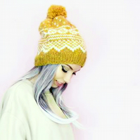 Knitted Hat - Wool Hat – Nordic – Icelandic - Bobble Hat – Unisex