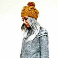 Lopi Alafoss Cable Knit Hat - Icelandic Wool Hat - Pom-Pom Hat For Women