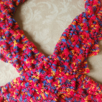 Hand knit thin lace scarf