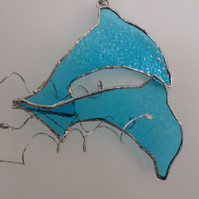 Stained glass dolphins, sun catcher, wall art