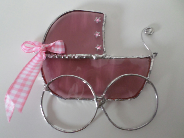 Stained glass suncatcher, wall art, pink pram.