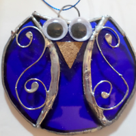 Stained glass owl, suncatcher, wall art