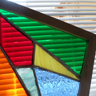 Stained glass abstract art, framed