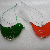 Stained glass birds, tree decorations