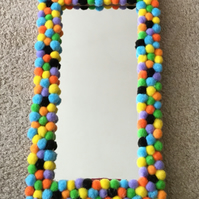 Pom Pom decorated mirror