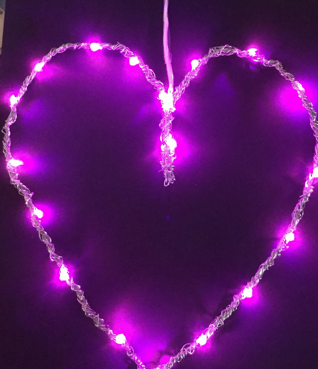 Wire Heart With Coloured Led Lights