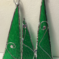 Stained glass Christmas trees , decoration, wall art, sun catcher.