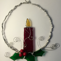 Stained glass Christmas decoration, wall art, sun catcher, wreath.