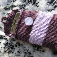 purple striped handknitted mobile phone cover