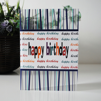FREE UK POSTAGE Handmade Happy Birthday Clear Acetate Greeting Card.