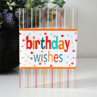FREE UK POSTAGE on Handmade Happy Birthday Clear Acetate Greeting Card.