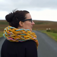 Arm Knitted Chunky Loop Scarf Yellow Multicolour