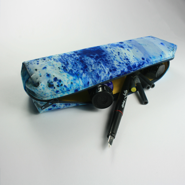 "SALE ""Splatter Ink spots"" Hand dyed, cotton small boxy pencil case in Blue"
