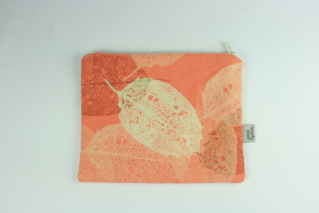 SALE Skeleton Leaf. Hand dyed Hand printed Linen zip pouch, hand printed Lining.