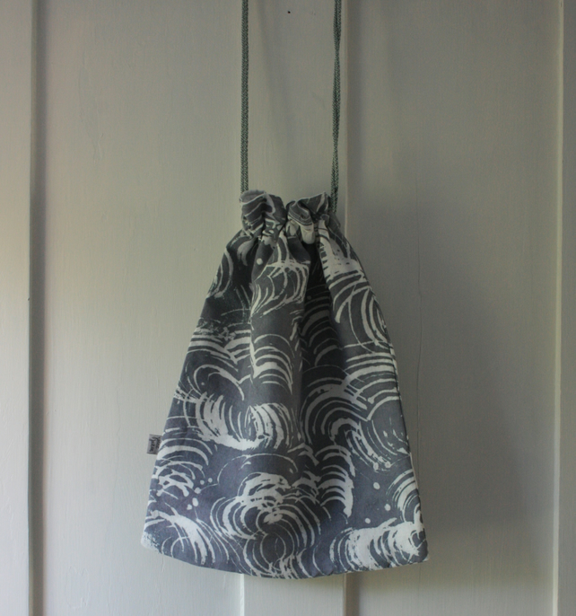 SALE Linen Hand dyed and painted lined draw string bag, small laundry bag.