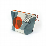 Hand printed linen wash bag. 'Troubadour grey'