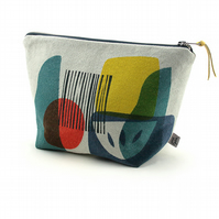 Hand printed linen wash bag. 'Troubadour
