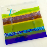 Large Square Fused Glass Dragonfly Landscape Platter Plate