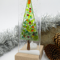 Fused Glass Christmas Tree Tealight Holder Suncatcher