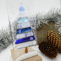 Fused Glass Blue Christmas Tree Tealight Holder Suncatcher