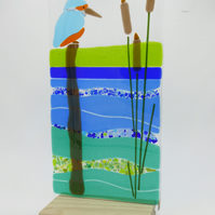Fused Glass Kingfisher Panel Sun Catcher Tea Light