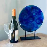 Fused Disk of Blue  Blue Glass, Sun Catcher, Sculpture