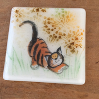 Fused Glass Cute Cat Ginger Kitten Coaster