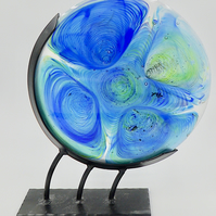 Fused Disk of Blue Green Glass, Sun Catcher, Sculpture