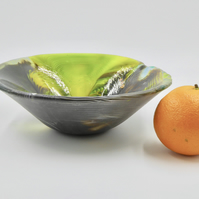 Organic Fused Glass Deep Green Fruit Bowl