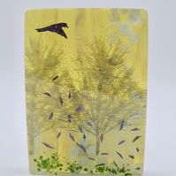 Silver Birch Trees Fused Glass Block