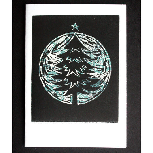items christmas card pear tree linocut