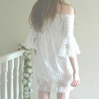 SALE Shirred Lace Dress