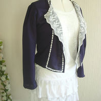 Custom Made Silky Jersey and Lace Jacket