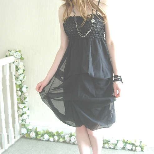 Black  - Bubble Shirred Hitch Up Dress