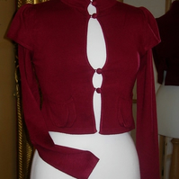 SALE Jacket - Knitted - Wine- UK 10-12