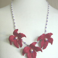 Necklace  - 'Rich Magenta Flowers'